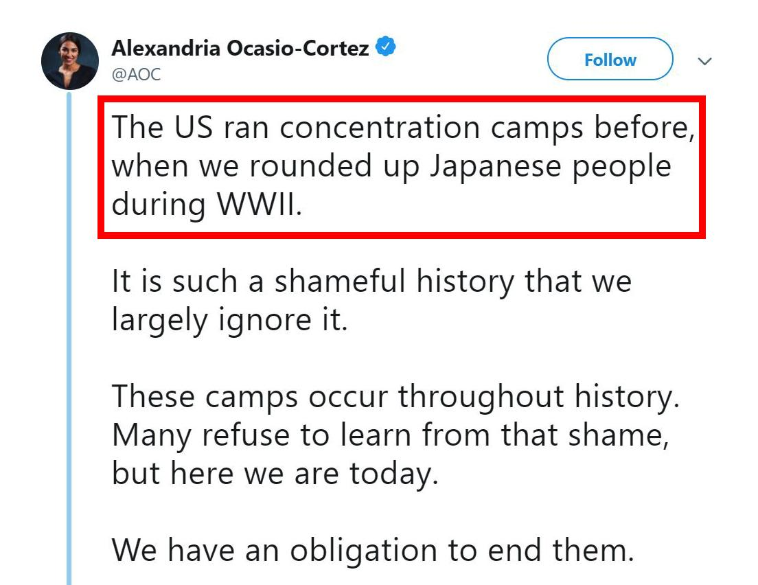 "Ocasio-Cortez now claims that the United States was operating ""concentration camps"" during World War II at the same time that Nazi Germany was systematically murdering millions of Jews in concentration camps"
