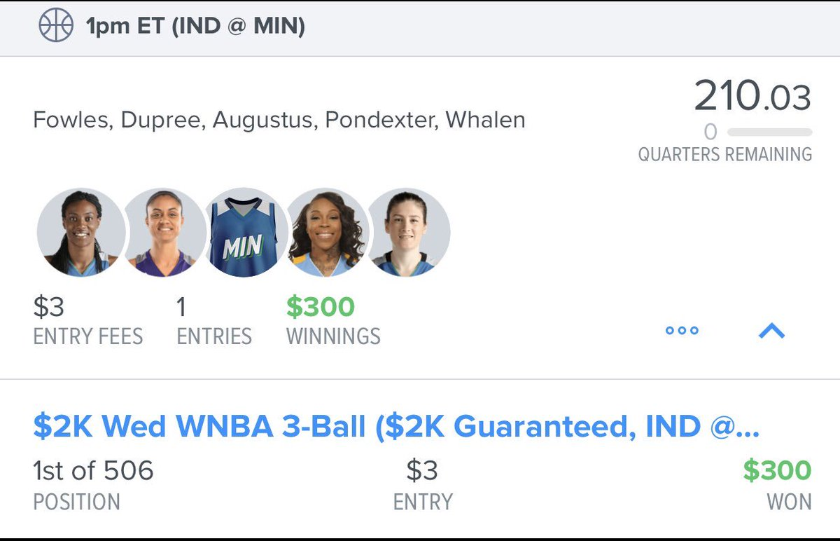 Bringing back WNBA! 🏀   If you're interested in a season subscription please message!!   Some of last years subscriber winnings below ⬇️ 💵  #WNBA #FanDuel #DFS  #Basketball #WeTheNorth