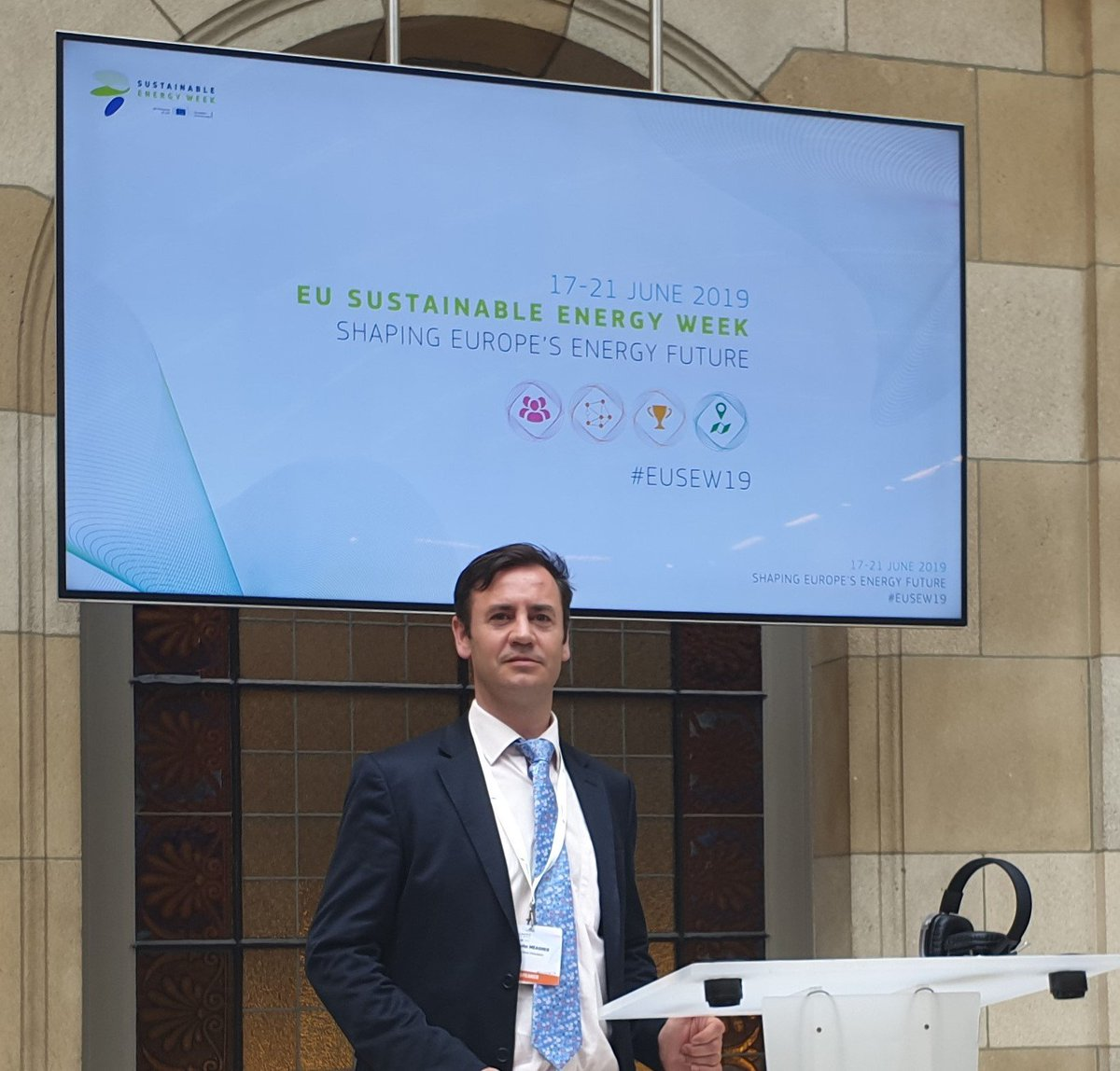 Today we are at @euenergyweek encouraging the use of tidal energy as a sustainable energy source for the future.  John Meagher, our Development Director, is at the event, speaking to experts across the industry #turnthetide #tidalenergy #renewables #EUSEW2019