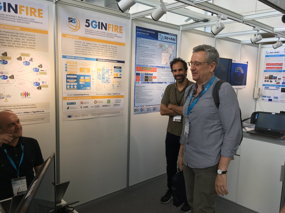 We are present at #Valencia5Gweek, #EuCNC2019 , #Global5GEvent. Visit our joint booth with @5gVinni. Dr. Diego Lopez visiting the booth. https://t.co/2VZ7OR3s7t