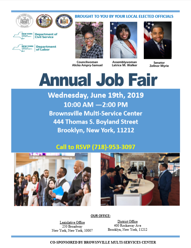 Hey #Brownsville! Council Member @AlickaASamuel41, @AssemblyLWalker, @NYSCivilService, and I are hosting a job fair right now until 2PM. Come through to the Brownsville Multi-Service Center at 444 Thomas S. Boyland St to find opportunities with agencies and orgs! #SD20 #Brooklyn