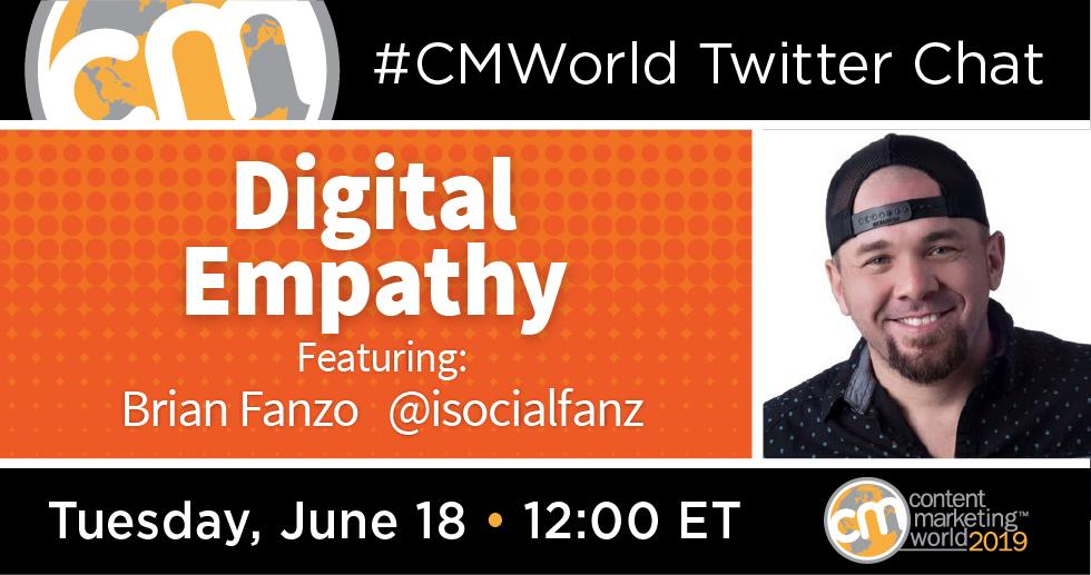 Digital Empathy: A #CMWorld Twitter Chat with Brian Fanzo http://dlvr.it/R6vG2c