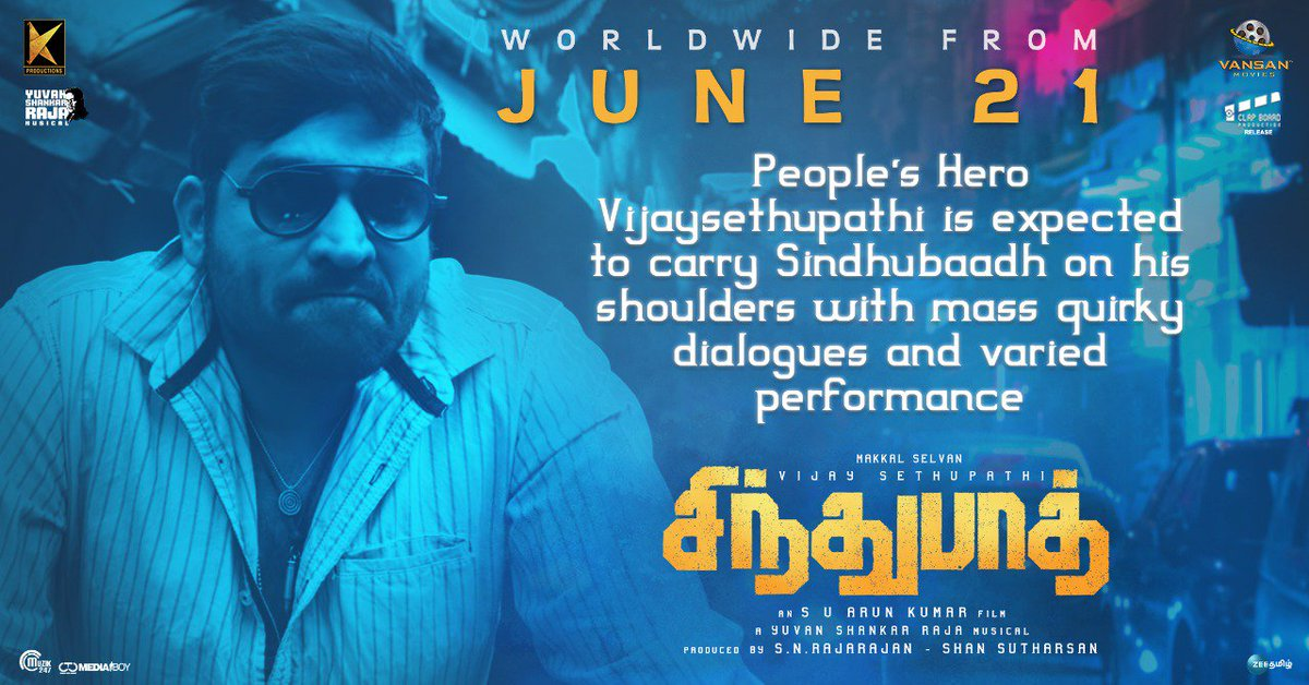 After #Iraivi @VijaySethuOffl and @yoursanjali join hands for #Sindhubaadh , the former has hearing problem and the latter can only speak louder #SindhubaadhFrom21stJune