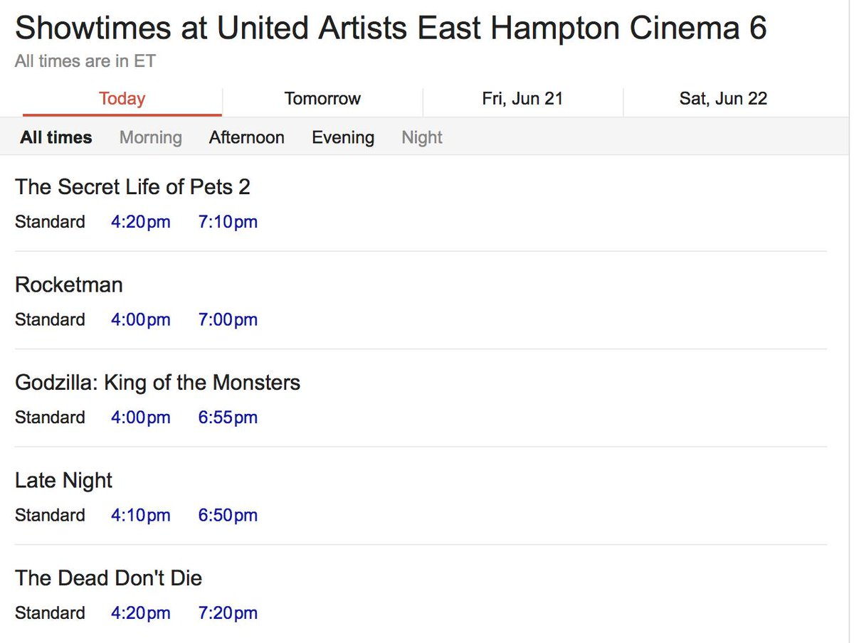 Today's movie times for the UA East Hampton Cinema.  #datenight #hamptons #movies #easthampton #movietimes #uacinema #popcorn #thesecretlifeofpets2 #rocketman #familytime #godzilla #latenight #thedeaddontdie #thingstodointhehamptons #wednesdaynight #atthemovies