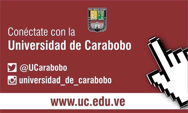 Conéctate con la Universidad de Carabobo siguiendo sus cuentas oficiales en #Twitter: @UCarabobo, en #Instagram: @universidad_de_carabobo, #Facebook /Universidad de Carabobo Oficial, y visitando nuestra página web http://uc.edu.ve