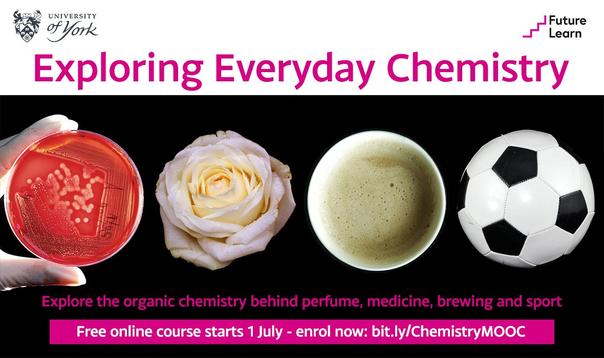 Explore everyday chemistry with @eedcAndy Prof Andy Parsons of @ChemistryatYork. Register now for our free online course - learn with us and @FutureLearn in July: http://bit.ly/ChemistryMOOC