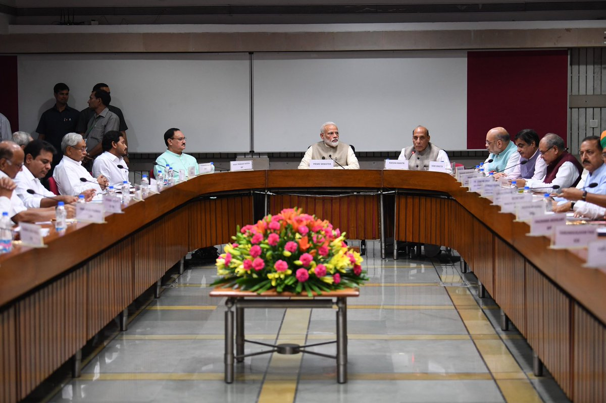 Presidents of various parties had extensive discussions on: Improving Parliament productivity. One Country, One Election. Vision for New India. Marking Bapu's 150th Jayanti. Developing aspirational districts.