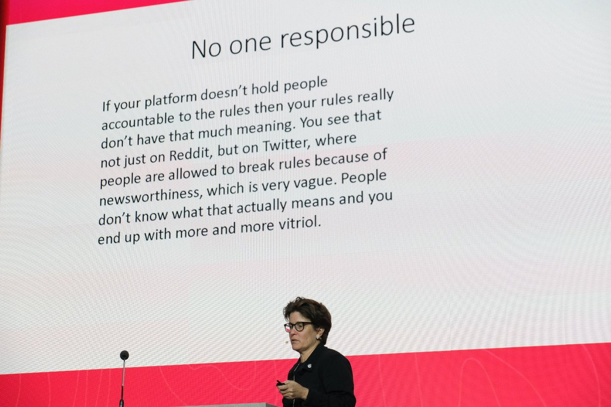 On stage at #TrueNorth19, @karaswisher clearly and directly caring out the responsibility problem in the tech industry
