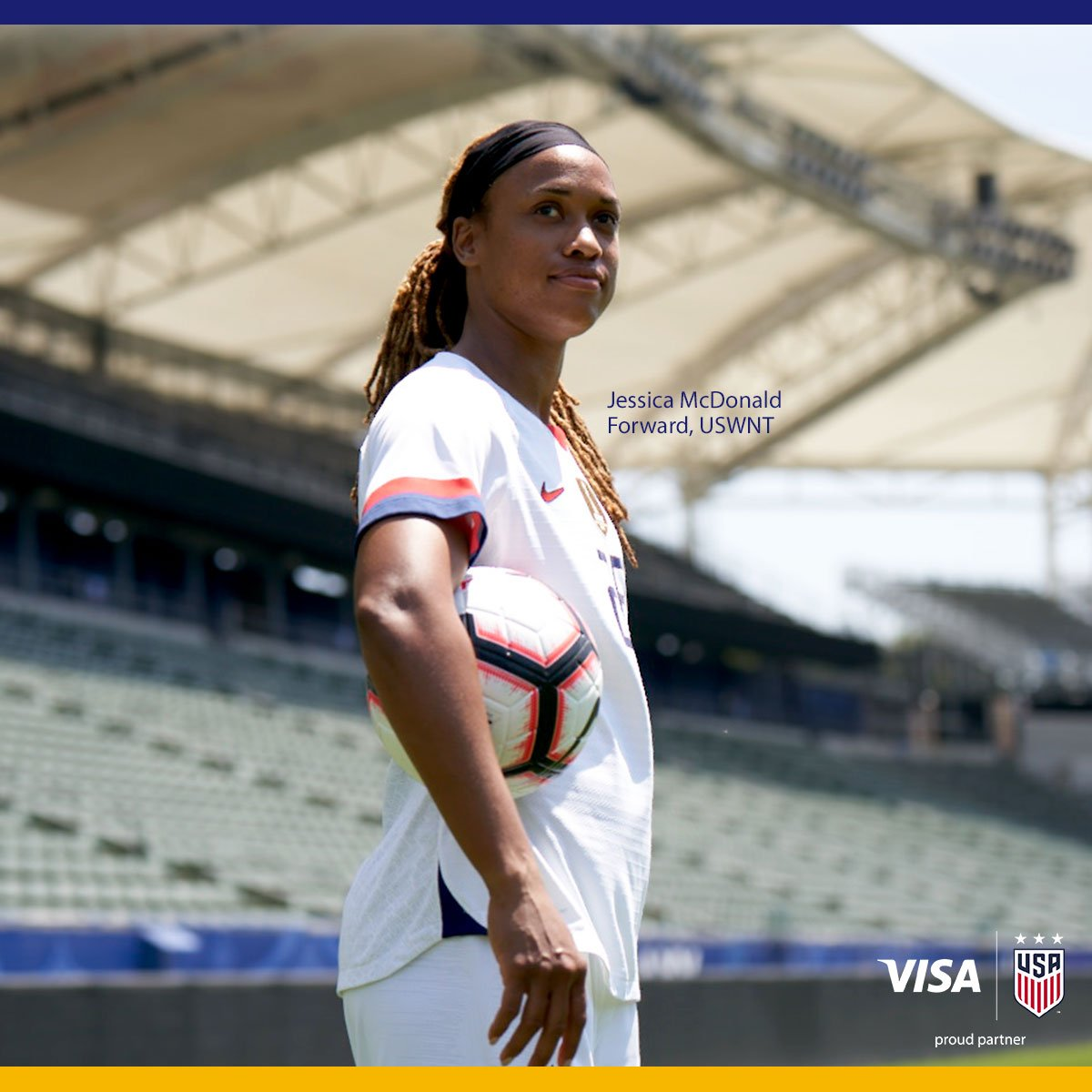 Jessica McDonald (@J_Mac1422) and the @USWNT look to close out group play with a win as they take on Sweden. Good luck!  Visa. Proud partner of the U.S. Women's National Team.