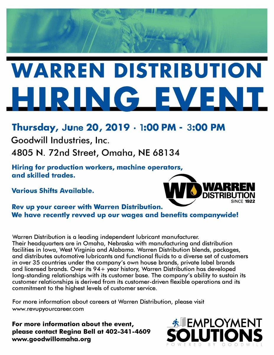 @WarrenDistribut #hiringevent 📍1-3 PM tomorrow 🙂 Are you #ready?? 👀  #visitus #skilledlabor #trades #machinery #jobseekers #careers #work #newjob #Wednesday #jobalert #careerchange #workers #production #jobs #wednesdaythoughts #interviews #resume #job #WednesdayWisdom