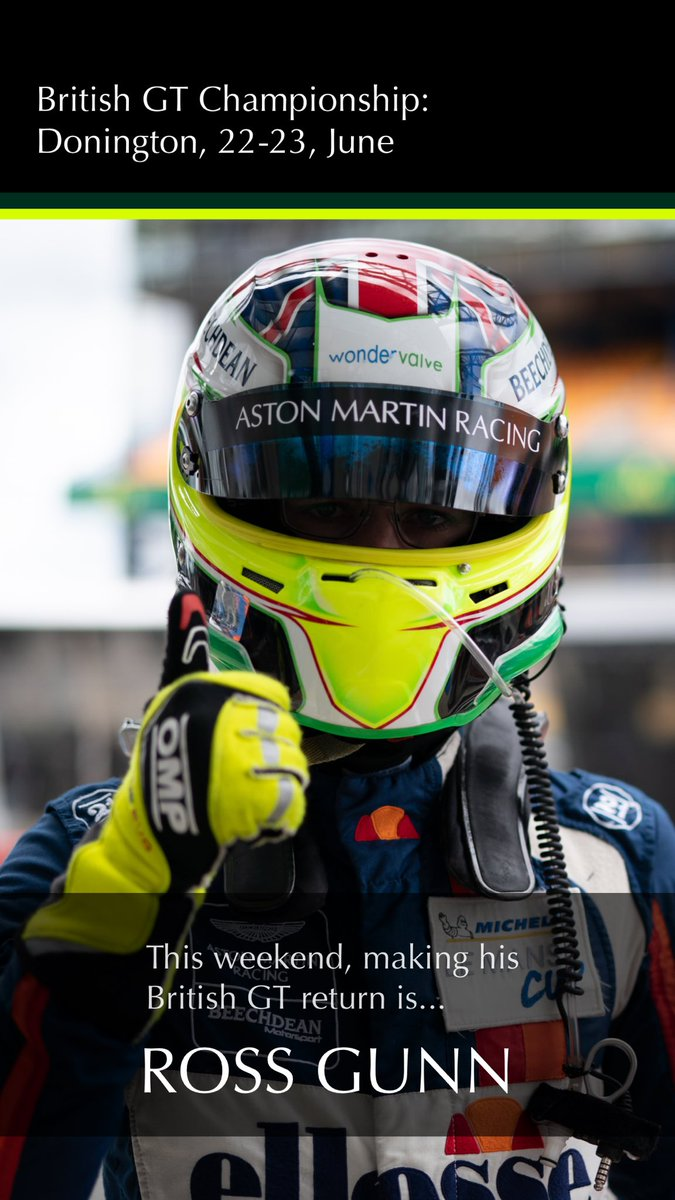 With @Marco_sorensen resting on the advice of his doctors, @BeechdeanAMR has called up @AMR_Official Super Sub @RossGunnRacing to stand in for this weekend's @BritishGT round at @DoningtonParkUK. Go Ross!  #AstonMartin #VantageGT3  #BritishGT