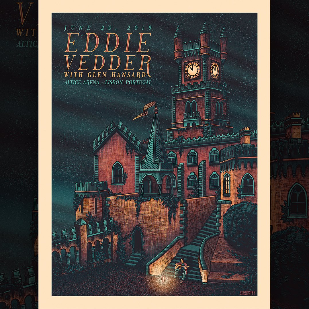 Official poster art by Luke Martin for #EddieVedders show at @AlticeArena in Lisbon.