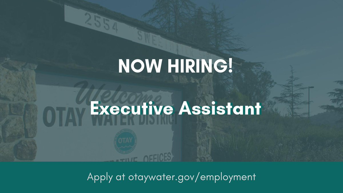 #JobOpportunity: We are seeking an Executive Assistant in our Water Operations Dept. and are anticipating another Executive Assistant vacancy in our Finance Dept. in December. To learn more and apply, visit http://governmentjobs.com/careers/otay. #WorkInWater #WaterJobs