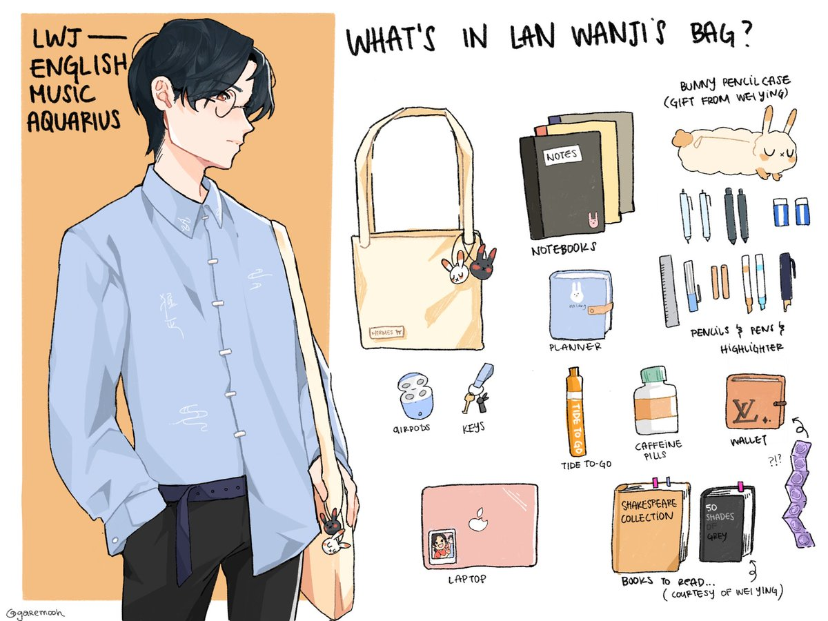 here is college edition lwj!! i def had to reference that bEAUtiful ,,, fashion collab model so ,,, there he is skskdjsksj lwj is an english/music double major trying to go to law school !! ps wwx is trying to go into bioengineering :,,,,) #MoDaoZuShi #art #LanWangji
