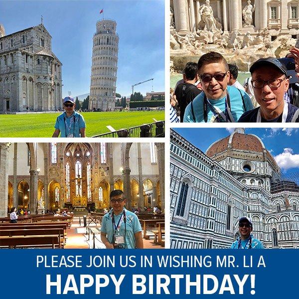 What better way to celebrate than on a YMT Bella Italia Tour!?  Happy birthday, Mr. Li! 🎂 https://t.co/pjFo6IhYG8