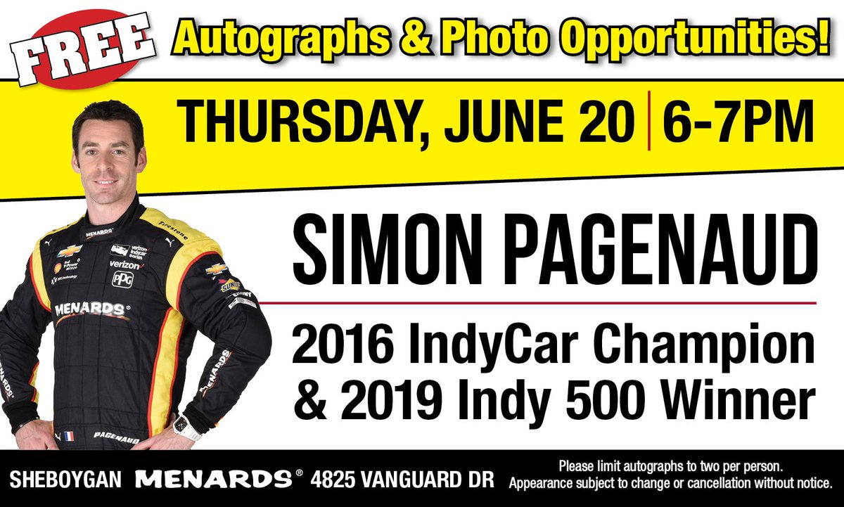 🚨 #Appearance Alert! 🚨 @simonpagenaud will appear with his #Indy500 winning car at the Sheboygan WI #Menards Thurs, June 20 6-7 PM #FREE #autographs & #photos! Get your discount tickets to the June 23rd @roadamerica race while youre there! #INDYCAR #Racing #meetandgreet