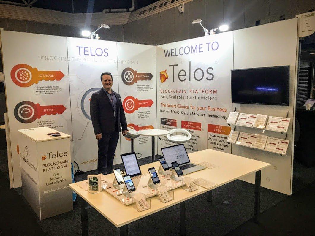 Our fearless leader @Douglas_Horn waiting eagerly for @Blockchain_Expo attendees to come talk about #Telos #blockchain and why #TelosMeansBusiness.  @HelloTelos @telosblockchain #BuildOnTelos #eosio #GoTelos #BlockchainExpo #TLOS