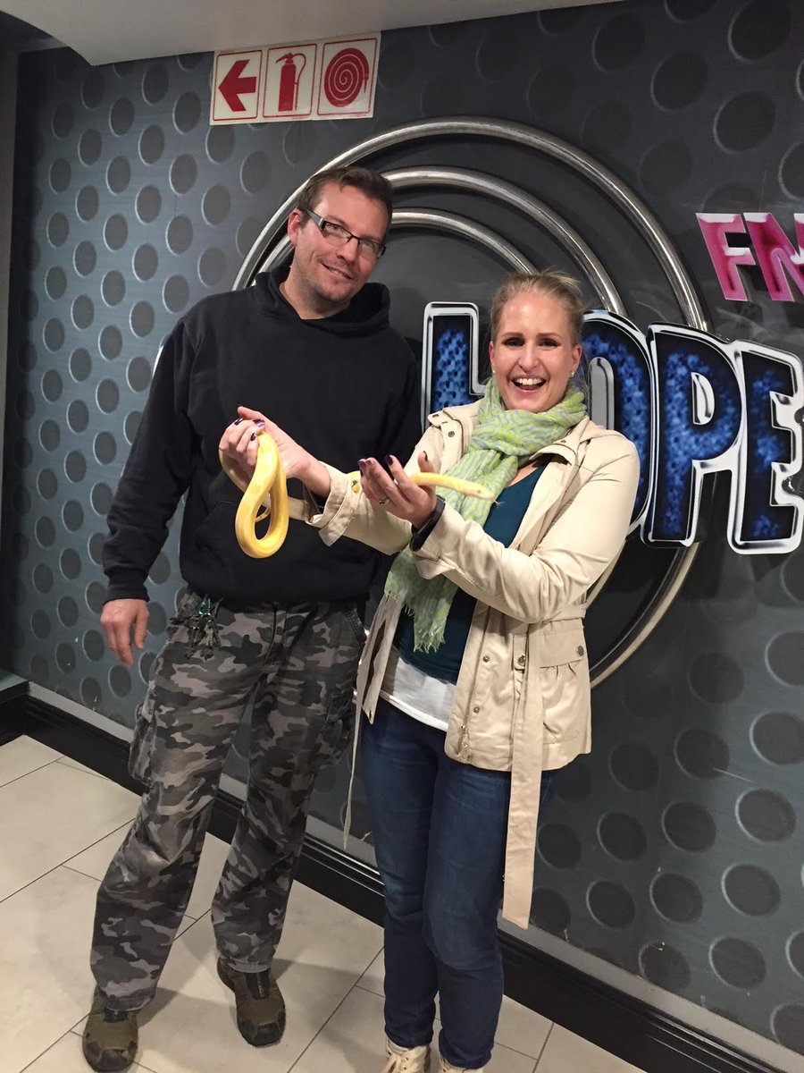 This evening's #InMyShoesInterviews on It's About time with @thatsmegeri - feeling like Britney Spears after chatting to @bjorn_unger  the owner & curator of a popular reptile park in Cape Town and Somerset West. #noordinaryjob #snakesinthestudio