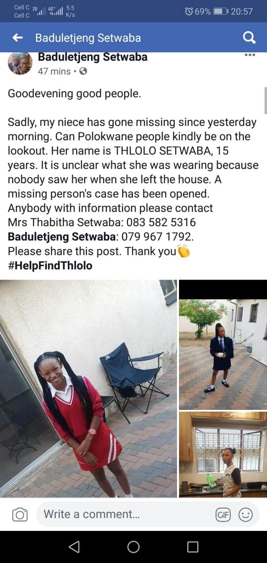 Please help yhe Setwaba family in finfing their 15 year old Thlolo who went missing. @tumisole @CountryDutyZA #ojewakeeng #MissingPerson <br>http://pic.twitter.com/Jm9aVcQtut