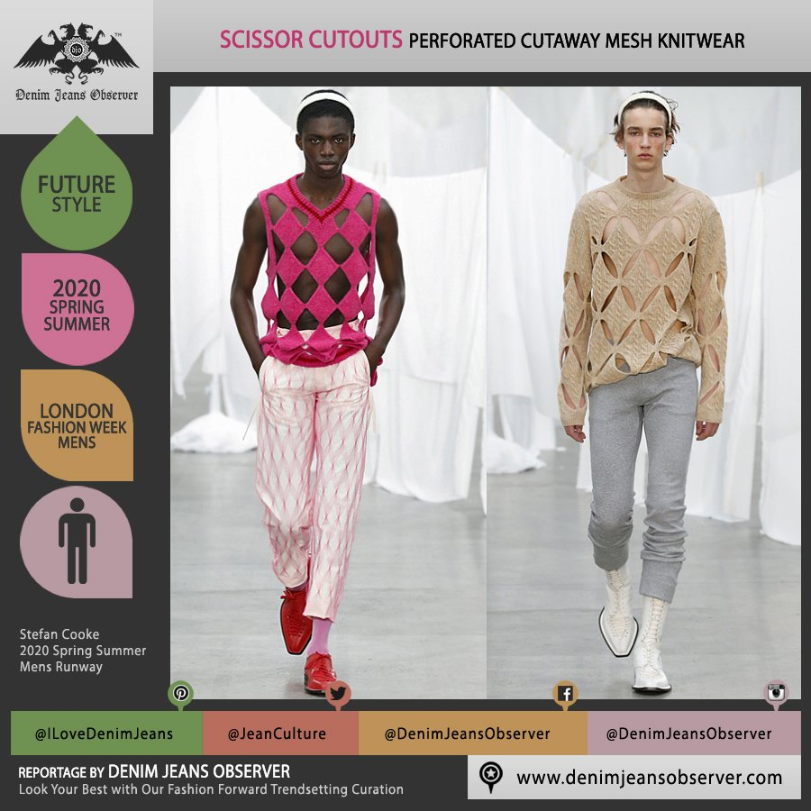 Stefan Cooke 2020 Spring Summer Mens Runway Looks Collection London Fashion Week Mens LFWM - Cutout Mesh Holes Cutaway Perforated Knit Sweater Knitwear Vest Headband Jogger Boots - Fashion Forward Trendsetting Curation by Denim Jeans Observer