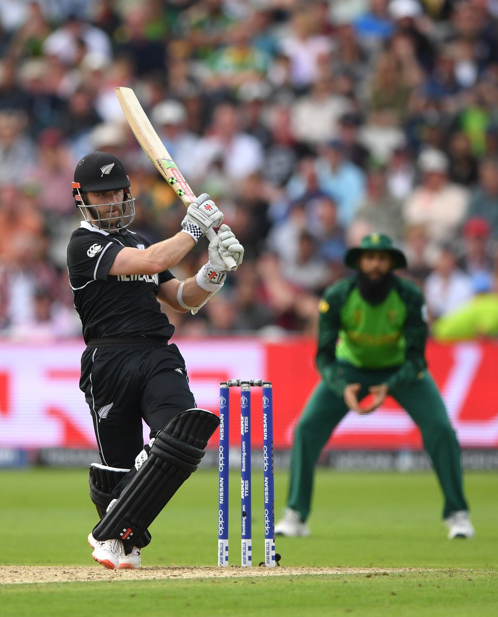 KANE WILLIAMSON! He pumps a SIX over mid-wicket bringing up his 12th ODI century! Next ball through gully for four and the BLACKCAPS claim a four wicket victory 🏏#CWC19 #NZvSA #BACKTHEBLACKCAPS