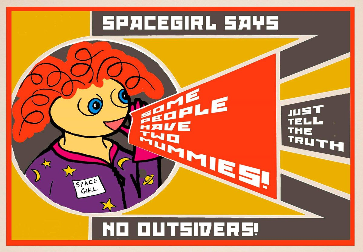 The #NoOutsiders poster that Spacegirl illustrator @VandaCarter made is now available to download on our website. Feel free to print it. Use it as your screensaver. Put it up in classrooms and school libraries. Please share! #LoveIsLove #TwoMummies #LGBT+ http://www.spacegirlbooks.co.uk/downloads