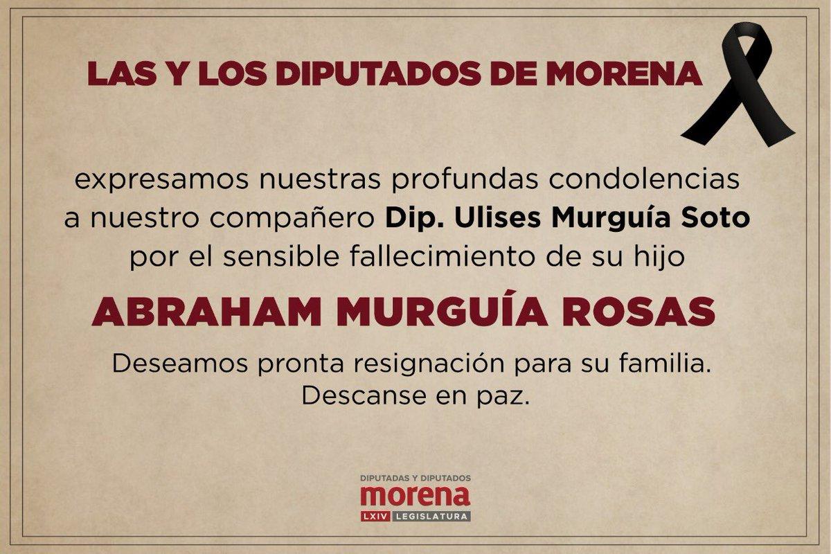 Lamento profundamente el fallecimiento de Abraham Murguía, hijo de mi compañero Ulises Murguía Soto. Envío mis condolencias y deseo una pronta resignación para sus seres queridos. #QDEP