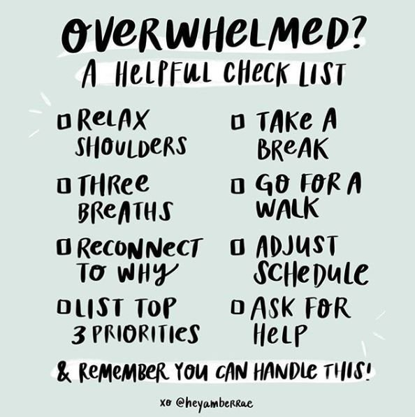 Middle of the week weighing you down? Here's a helpful checklist from @heyamberrae to manage those stressed out feelings.  #selfcare #stressmanagement #mentalhealthmatters