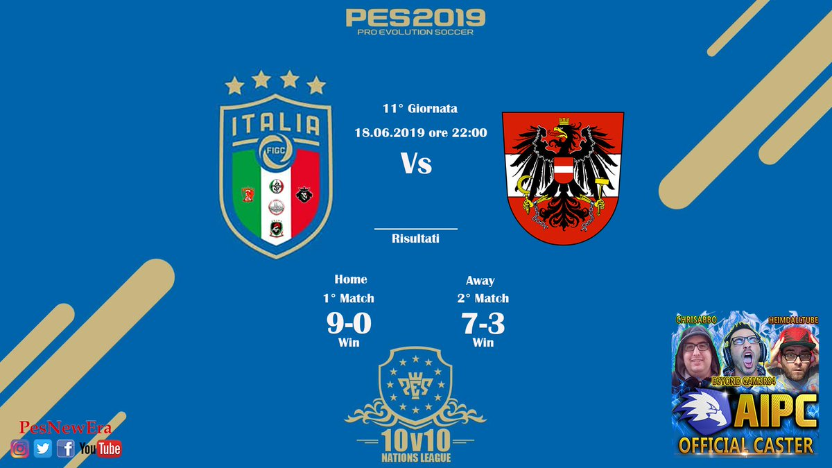 #PES2019 #ProClub #11Vs11 #eSports #NazionaleItaliana   Ecco i risultati dell' 11° giornata della #NationsLeague disputata contro L'Austria💪👊 Due grandi prestazioni che ci fanno aggiungere 6 punti preziosi alla classifica. 👊 👏 Grandissimi tutti 🤙🇮🇹 #ForzaRagazzi #ForzaItalia