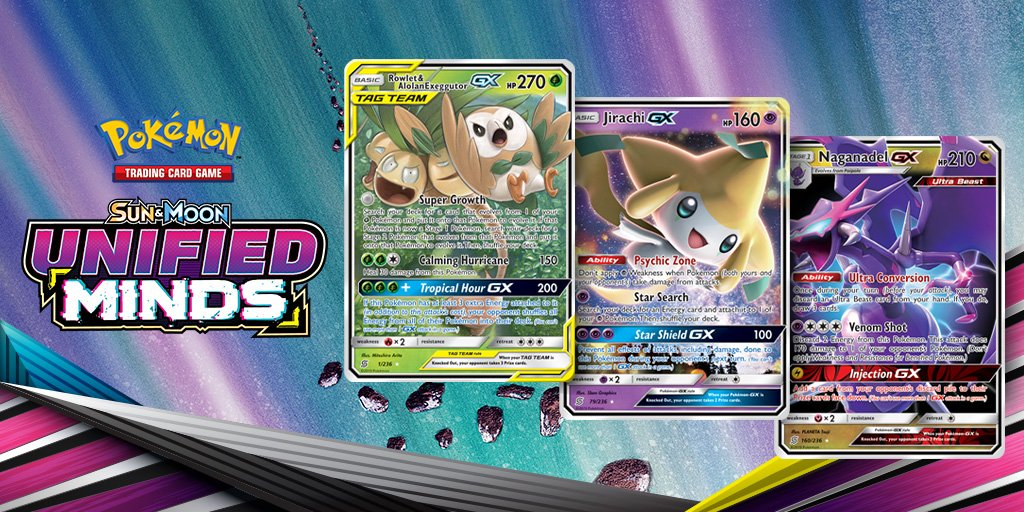 ✅ Rowlet & Alolan Exeggutor-GX ✅ Jirachi-GX ✅ Naganadel-GX From TAG TEAM pairings and Pokémon-GX to powerful Supporter cards, the #PokemonTCG: Sun & Moon—Unified Minds expansion has it all to boost your deck or collection! Check out these cards: bit.ly/2WTA3s5
