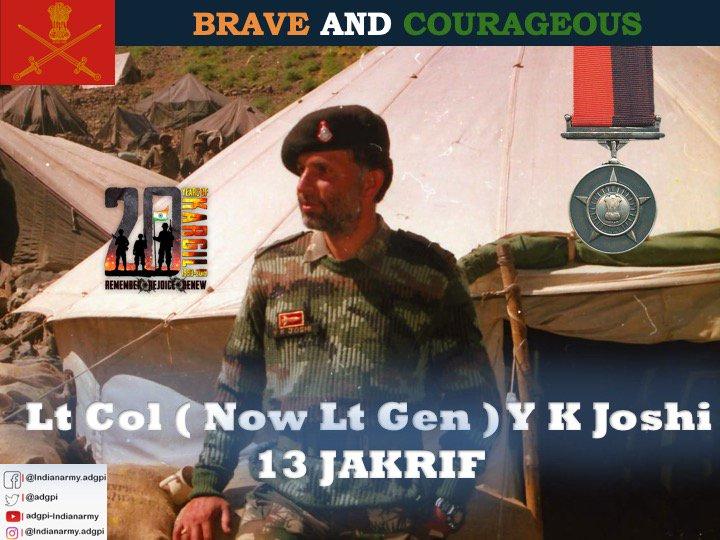 Lieutenant Colonel (Now Lieutenant General) Y K Joshi, Commanding 13 JAK RIF displayed exemplary leadership & courage during the capture of Point 5140.  Awarded #VeerChakra   http:// gallantryawards.gov.in/Awardee/yogesh -kumar-joshi  … <br>http://pic.twitter.com/QQxHPTXudJ