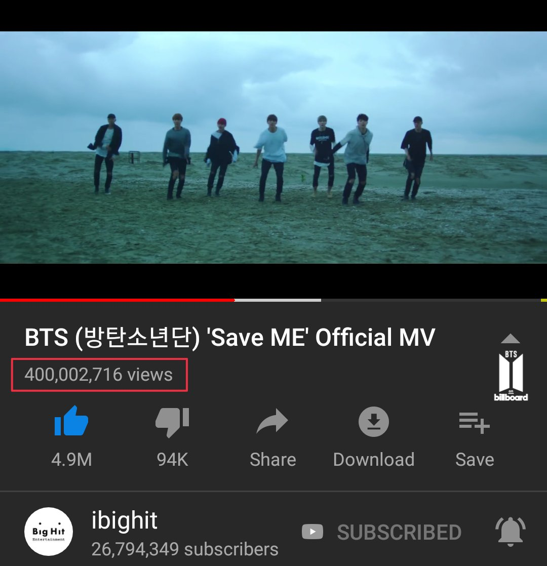 """[YOUTUBE ]  @BTS_twt's """"Save ME"""" MV has reached 400M views on YouTube, this is their 8th MV to achieve this milestone!  Congratulations to BTS & ARMY   Make sure to keep watching """"Boy With Luv"""" MV along with other MVs.    https:// youtu.be/GZjt_sA2eso     #SaveME400M<br>http://pic.twitter.com/s1iVz8wEwp"""