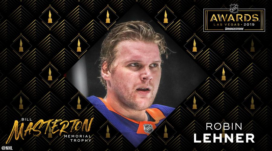 Adversity is tough, but @RobinLehner prevailed this past season and is awarded the Bill Masterton Trophy! #NHLAwards