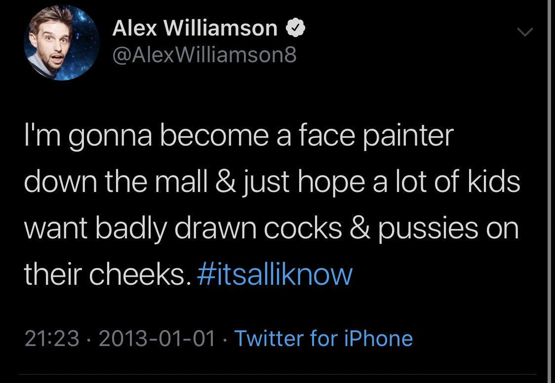 "So, I looked up Alex Williamson and SHOCKER (not !) he is rabid Trump-hating Australian socialist fascist ""comedian"" who has in the past joked about....well see for yourself!👇🤮 How does @Twitter/@TwitterSupport let this freak have an acct? #Disgusting #Vile  #FireAlexWilliamson"