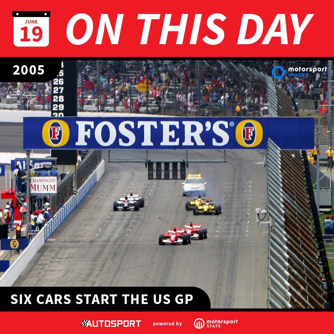 📆 #OnThisDay in F1 history...🏁  📌Only the 6 cars fielded the 2005 #USGP at Indy, with only teams using Bridgestone tyres (Ferrari, Jordan & Minardi) starting #F1