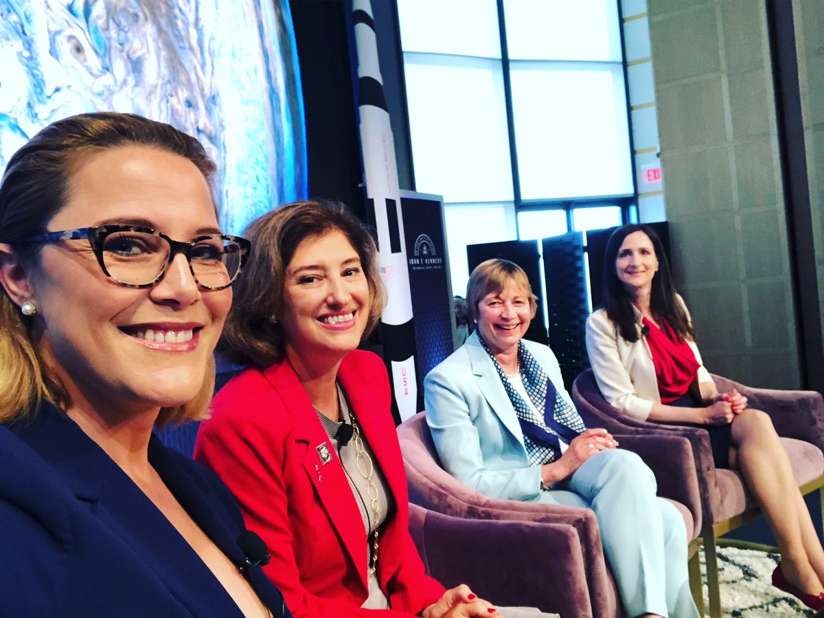 THRILL of a lifetime. Today I moderated a panel of the top women space scientists at #JFKSpaceSummit for 50th anniversary of @NASA moon landing. THANK YOU @maria_zuber @LaurieofMars @ProfSaraSeager @JFKLibrary for inspiring us to keep exploring  🌎🌔🚀
