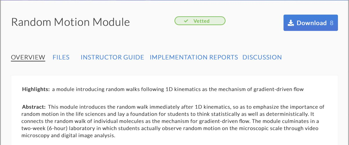 Check out this Random Motion Module by Catherine Crouch. This module introduces the random walk immediately after 1D kinematics, to emphasize the importance of random motion in the life sciences. Find the materials and instructor guide at: https://t.co/VY61ar5xoi https://t.co/6rkwdPFPoD