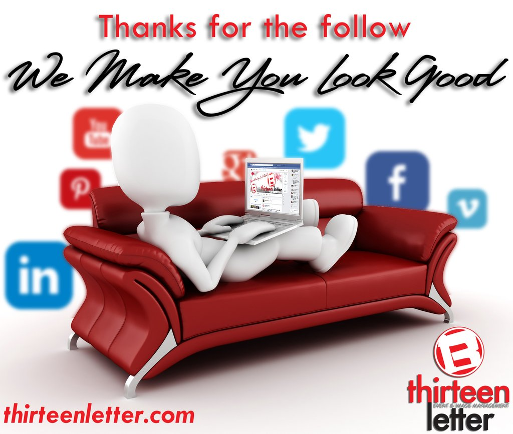 Mike Stuber thanks for following thirteen letter! We make you look good #ThankYou #YQR #LookGood