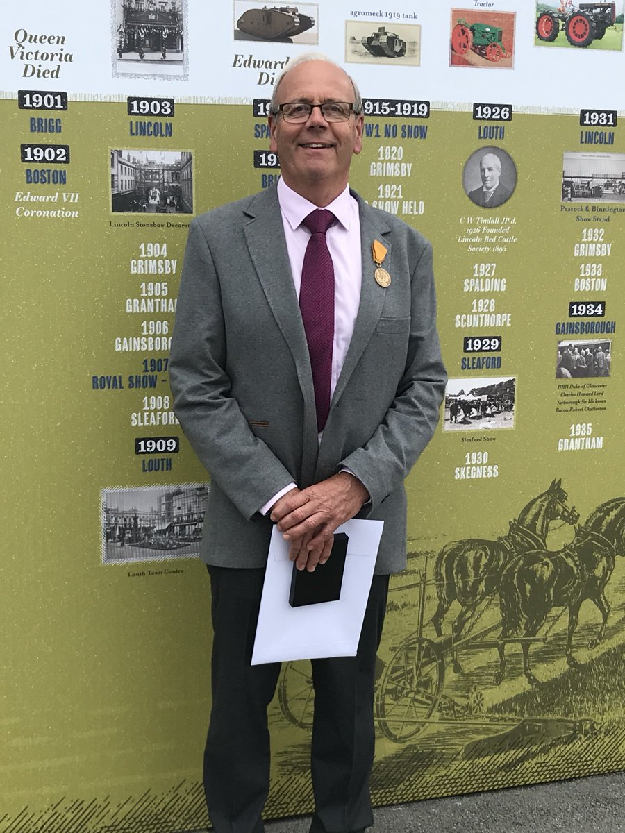 Pleased to be able to share a picture of James, our Farm Manager at his Lifetime Achievement Award ceremony held at Lincolnshire Show this morning. He was part of 39 people being honoured for services to agriculture with a combined service of over 1,500 years! #lincsshow