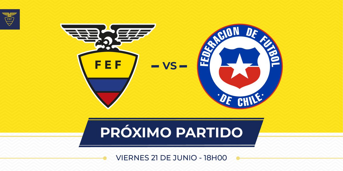Próximo partido 🇪🇨:  🏆 Copa América Brasil 2019 ⚽️ @FEFEcuador - @LaRoja  📆 Viernes 21 de junio ⏰ 18h00 (ECU) 🏟 Arena Fonte Nova 📍 Salvador de Bahía  #PorUnNuevoDesafío #CopaAmerica #VamosEcuador