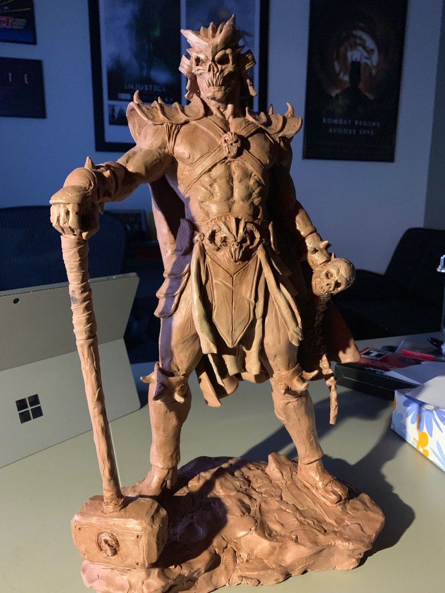 Today I was shown an amazing Shao Kahn statue HAND SCULPTED by an amazing artist @rafagrassetti who happens to be the God of War Art Director at @SonySantaMonica. Thanks for sharing this!! https://t.co/NeCqu6ADVN