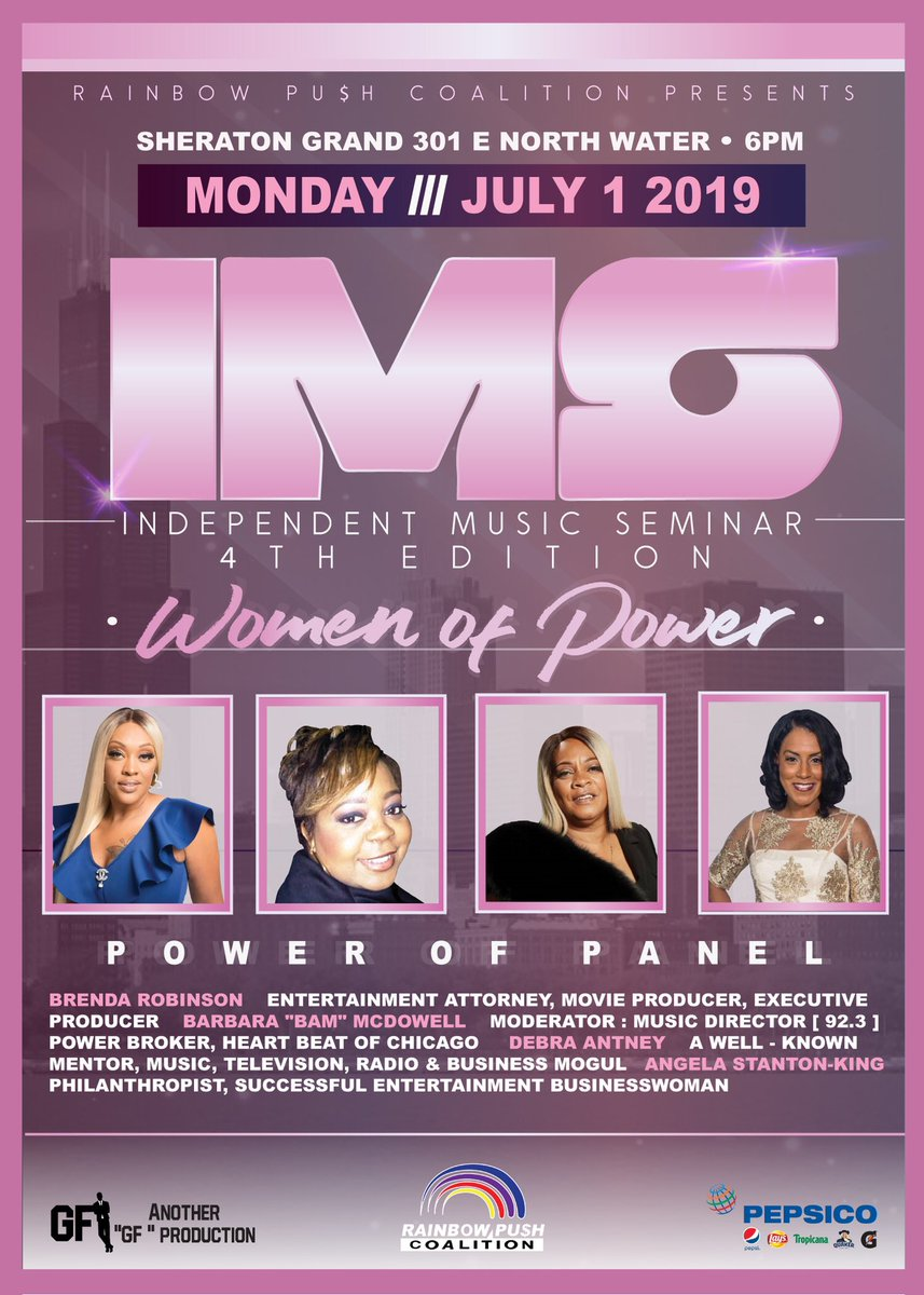 MEET the WOMEN of POWER in the ENTERTAINMENT INDUSTRY. Join us MONDAY July 1, 2019 for the @RPCoalition INDEPENDENT MUSIC SEMINAR @SheratonChicago 6pm REGISTER today eventbrite.com/e/rainbow-push… #RPCCONV2019