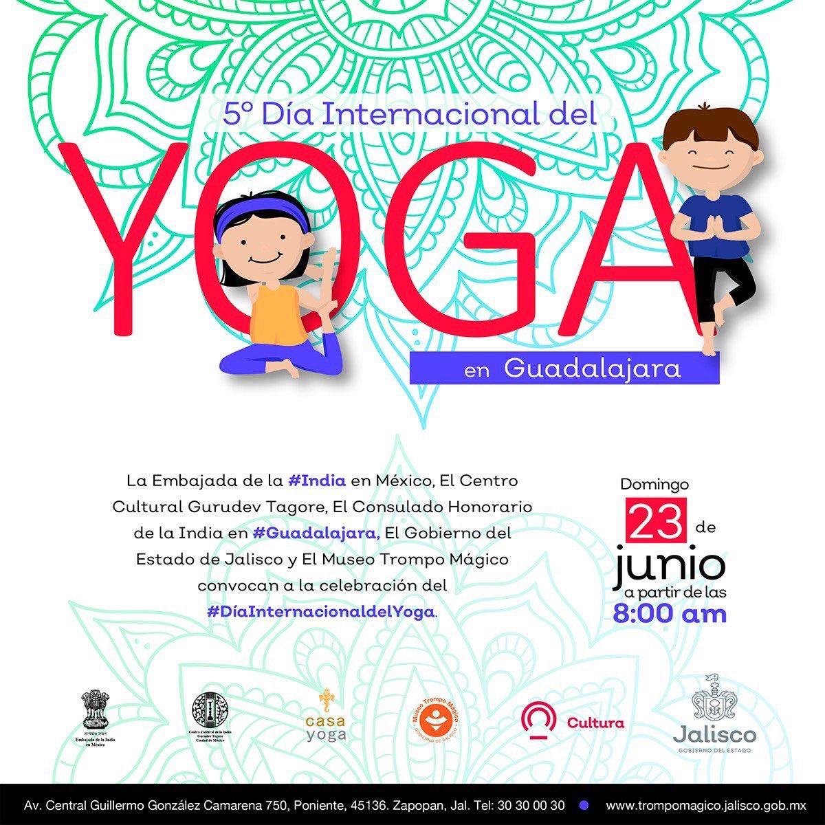 Festeja el #DíaInternacionalDelYoga en #Guadalajara practicándolo con actividades para adultos y niños.   📍 @TrompoMagico  📅 23 de junio  ⏱ 08:00 - 10:00 hrs