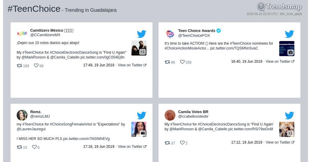 #teenchoice es ahora una tendencia en #Guadalajara  https://www.trendsmap.com/r/MX_GUA_qbipft