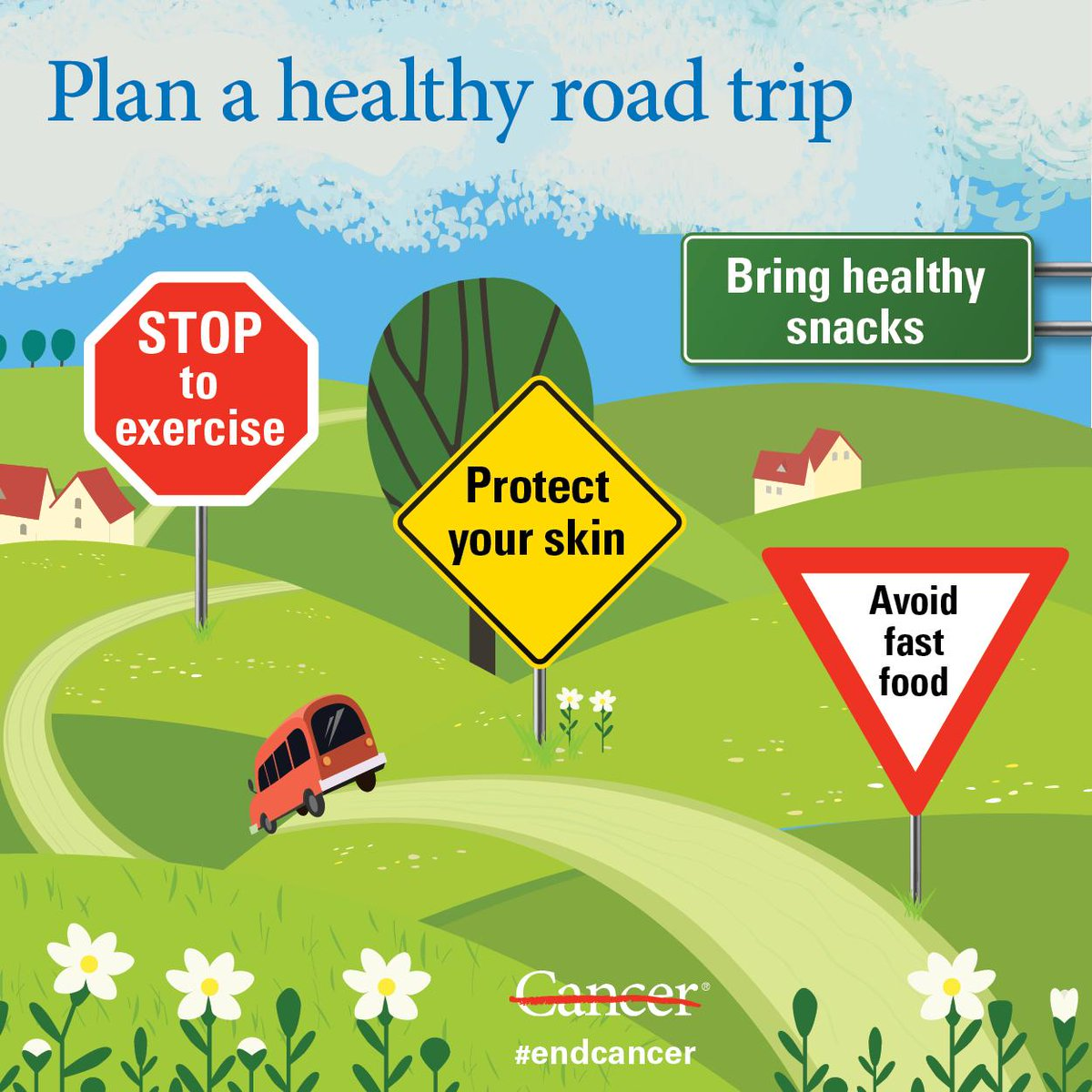 Heading on a road trip? Stay healthy and lower your #cancer risk with our tips for a healthy summer: http://bit.ly/2ZpKsso @FocusedonHealth #endcancer