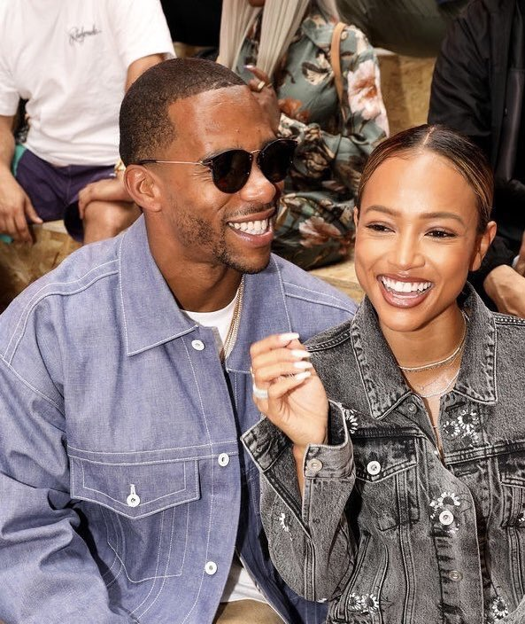 Karrueche and Victor at Off White fashion show in Paris <br>http://pic.twitter.com/8CJ2J0N482