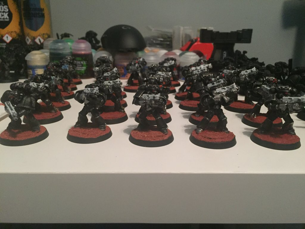 30 tactical marines done, now another 120 more models to go. For the Emperor. #Warhammer #warhammer40k