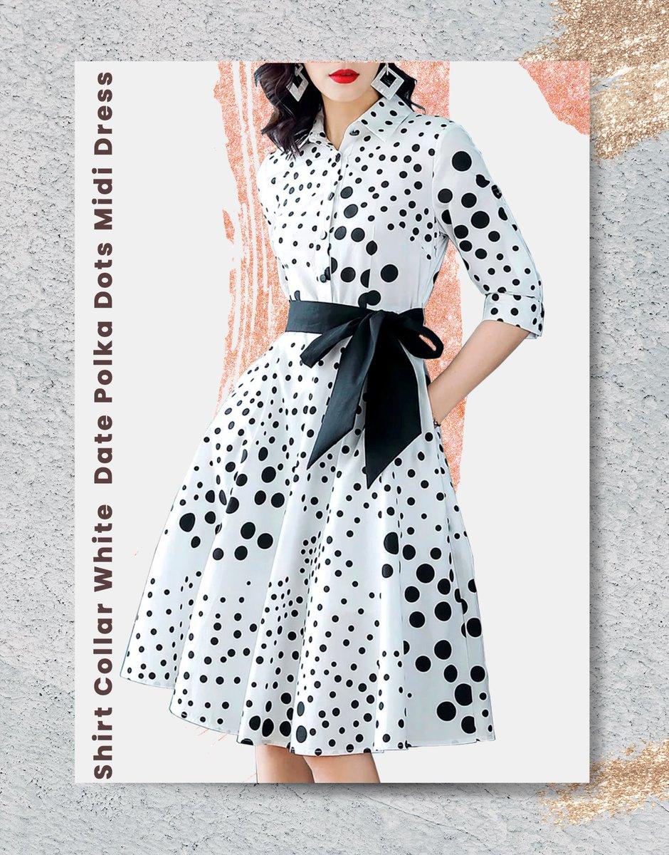 cffdeaba0 Cotton, Polyester Slightly stretchy Mid-weight Half Sleeve Collar A-line  Polka Dots #Eboutique_sa #Eboutique #Explor #دارالحورية #ازياء #موضه #اناقة  #فساتين ...