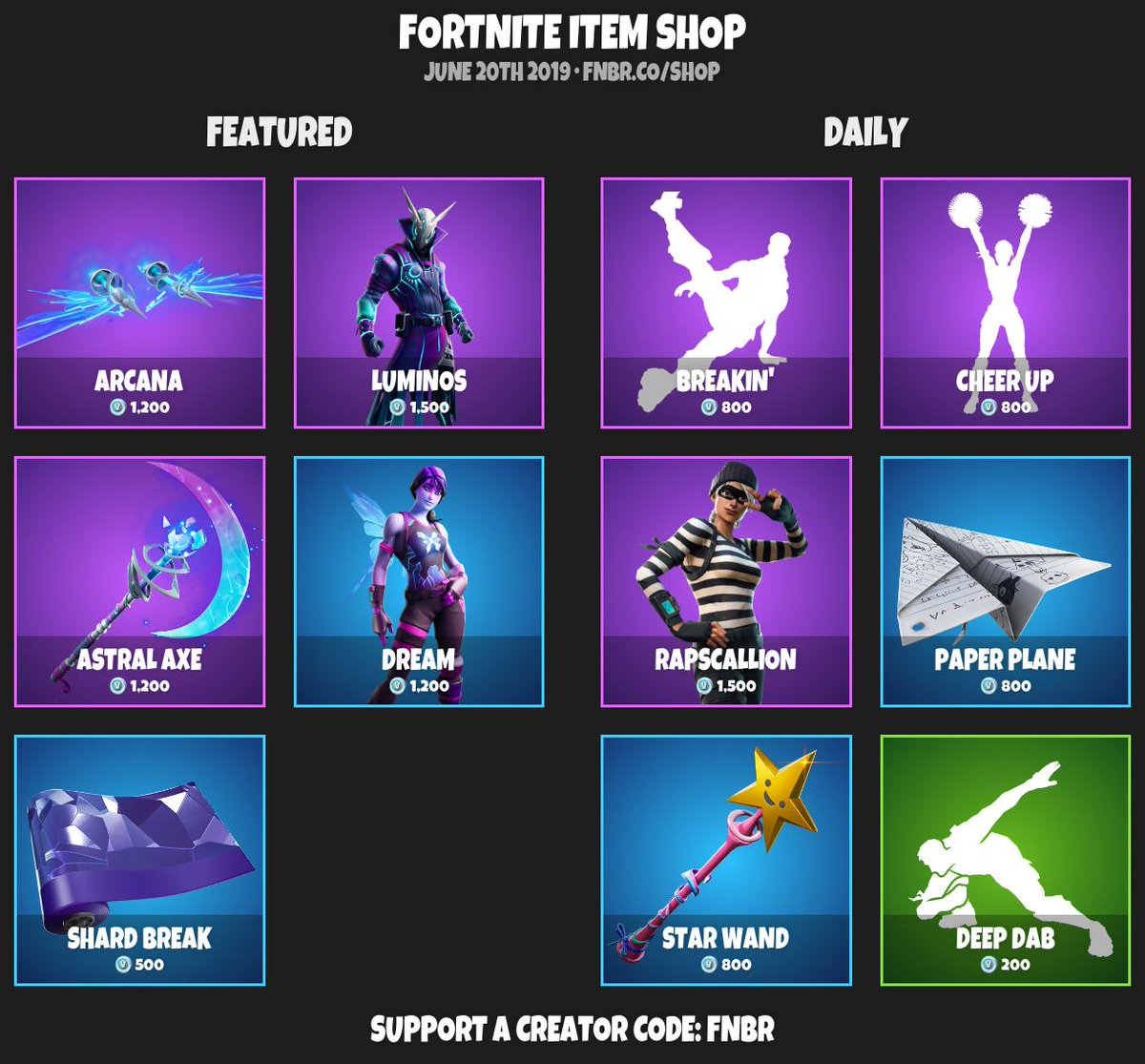 #Fortnite Item Shop for June 20th 2019 |  https:// fnbr.co/shop      Use creator code 'fnbr' if you'd like to support us! <br>http://pic.twitter.com/72MSgcq7xW