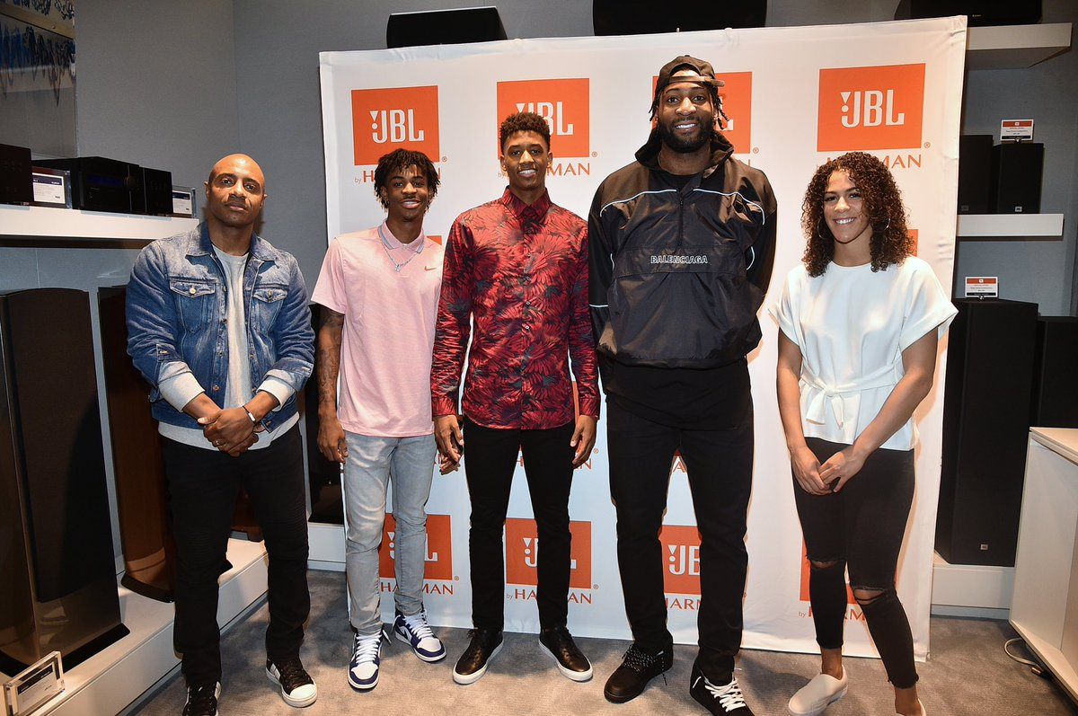 Top prospects @igotgame_12 _ and @jarrettc08 sat down with me, @AndreDrummond and @KayNurse11 for some advice on entering the league. Thanks, @JBLaudio for the opportunity and to the fans who waited in the rain for hours for a chance to join us! #JBLHoops #AD